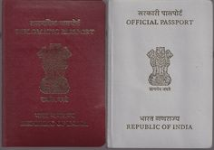 An Indian Diplomatic Passport and an Official Passport. These passports serve supplementary functions to an ordinary Indian passport (pictured below). Note the difference in passport color and function as per passport type.
