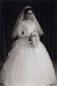 A beautiful elaborate princess gown. | 60 Adorable Real Vintage Wedding Photos From The '60s