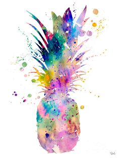 Pineapple Acrylic Print by Watercolor Girl. All acrylic prints are professionally printed, packaged, and shipped within 3 - 4 business days and delivered ready-to-hang on your wall. Choose from multiple sizes and mounting options. Pineapple Tattoo, Pineapple Art, Cute Pineapple Wallpaper, Cute Wallpapers, Wallpaper Backgrounds, Iphone Wallpaper, Trendy Wallpaper, Watercolor Girl, Watercolor Paintings