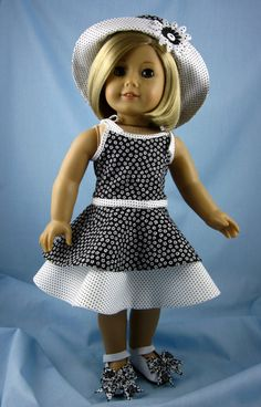 Sundress, Hat and Shoes fit American Girl Doll - Black and White 18-Inch Doll Dress