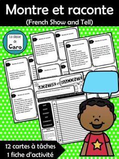 Cette activité de Montre et Raconte (Show and Tell) est le moyen idéal pour faire parler les élèves! J'ai inclus 12 cartes de tâches avec choix. Les élèves rempliront une feuille d'activité et s'exerceront à écrire et à parler de leur choix.