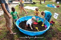 Children to dig in the soil and find creepy crawlies or plant their own plastic flowers etc. Good if there is no grassy areas for children.