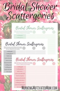 Bridal Shower Game and Free Scattergories Printable. Available in 4 colors: pink, teal, blue, and green.