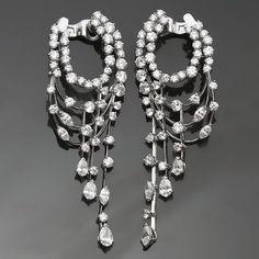 1990s VAN CLEEF & ARPELS Diamond 18k White Gold Chandelier Earrings #VanCleefArpels #DangleDropEarrings