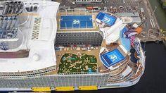 Bird's eye view of @royalcaribbean's Harmony of the Seas, the world's largest cruise ship. #CruiseFever #cruise #cruiseship #royalcaribbean #getmeonharmony #travel #Harmonyoftheseas