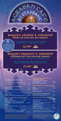 agrabah  - Menu Restaurant 2015 - 2016 Disneyland Paris