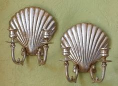 Sconce Pair Gilded Brass Shells Art Deco by queendecor on Etsy, $125.00