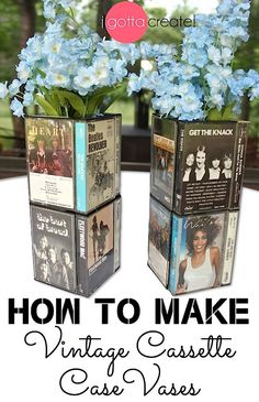 Love! Cassette case vase tutorial ~ great conversation centerpiece at a music theme #party or #wedding | Tutorial at I Gotta Create!