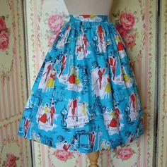 1950s Novelty Print Skirt / Paris Print / by RainbowValleyVintage