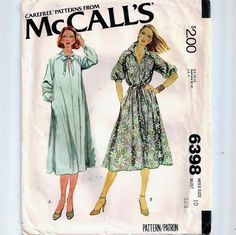 An Easy Fitting, Pullover, Raglan Sleeve Dress Pattern with Collar and Sleeve Variations