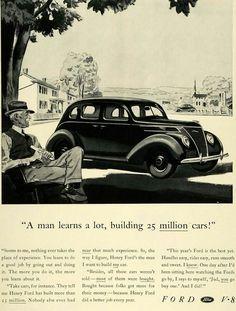 Million Men, Ford V8, Best Yet, Advertising, Ads, Car Posters, Henry Ford, Tudor, Art Cars