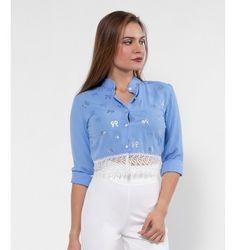 Crop Πουκάμισο με Δαντέλα και Χρυσά Φιογκάκια - Γαλάζιο Blouse, Long Sleeve, Sleeves, Tops, Women, Fashion, Moda, Women's, Fashion Styles