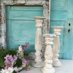Cream Distressed Candle Holders French Shabby Chic Set of 3