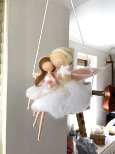 Mother Fairy and Daughter Cot mobile. Felted mobile. Cradle | Etsy Little Girl Rooms, Little Girls, Cot Mobile, Decoration Piece, Mothers Love, Needle Felting, Nursery Decor, To My Daughter, Fairy