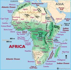 Africa Physical Map | World Geography | Pinterest | Africa and ...