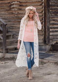 3900f0bd8d New Women s Clothing - Shop Our Online Boutique. Lace Cardigan OutfitWhite  Kimono ...