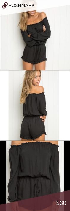 Brandy Melville Gabriella Black Romper Brandy Melville Gabriella Black Romper Excellent condition - worn only once! All Brandy Melville items are one size fits all but this romper fits like a S/M. Elastic waste! There are stings that tie at the waste. Please note, the tie does not cinch the waist at all - the strings are just for looks. Brandy Melville Other