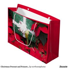 Christmas Present and Poinsettias Holiday Large Gift Bag
