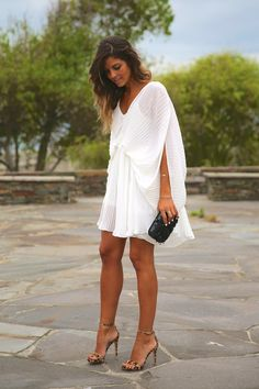 Choies White Pleated Dress + Steve Madden Leopard Sandals http://FashionCognoscente.blogspot.com