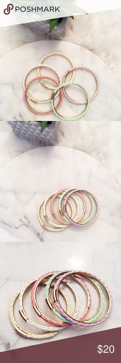 Bangle bracelet bundle! Great condition on all bangle bracelets. Come in bundle or can be sold separately if you are interested. See photos for close up details and measurements! Colors are shown in photos as well. Jewelry Bracelets
