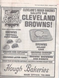 Hough Bakery Ad The staple foods of my childhood came from Hough's.the oven in… Cleveland Browns Football, Cleveland Rocks, Cleveland Ohio, Akron Ohio, Cincinnati, The Buckeye State, Sweet Memories, Childhood Memories, Food Staples