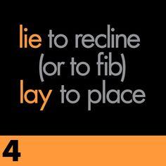 10 Grammar Mistakes & 10 Lessons to Fix Them: Lie vs Lay Grammar Tips, Grammar And Punctuation, Grammar Rules, Teaching Grammar, Grammar And Vocabulary, Grammar Lessons, Teaching Writing, English Vocabulary, Teaching English