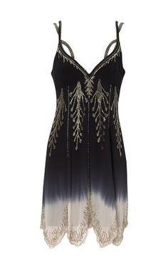 Karen Millen Dip Dyed Beaded Dress Black - suit-dresses.com - $112.58