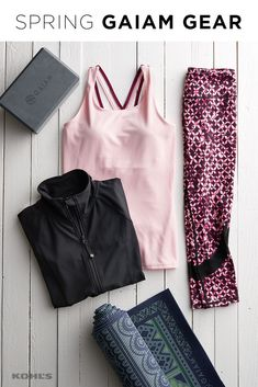 Our favorite workout motivation? A gorgeous and coordinated yoga outfit. Featured product includes: Gaiam yoga tank top, capri yoga leggings, jacket, reversible yoga mat and yoga block & strap combo. Get fit with Kohl's. Sporty Outfits, Athletic Outfits, Cute Outfits, Fashion Outfits, Sporty Clothes, Yoga Outfits, Partner Yoga, Workout Attire, Workout Wear