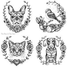 The bee and the sea Dog Tattoos, Animal Tattoos, Tattoo Drawings, Girl Tattoos, Dog Portrait Tattoo, Dachshund Tattoo, String Art Patterns, Doodle Dog, Memorial Tattoos