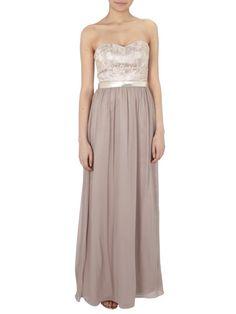 LAONA Abendkleid mit Spitzen-Corsage und Gold-Gürtel