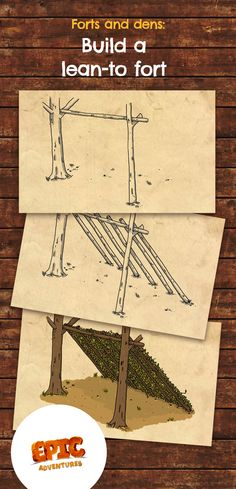 Learn how to build a lean-to outdoor den for kids Teach your kids to build an outdoor lean-to shelte Backyard Camping, Backyard For Kids, Diy Camping, Camping Crafts, Diy For Kids, Backyard Ideas, Camping Shelters, Outdoor Shelters, Forest School Activities