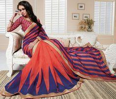 Orange & Blue Color Linen Bhagalpuri Party Wear Sarees : Nayantara Collection YF-31997
