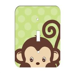 Monkey Jungle Nursery Single Toggle Lightswitch Plate Cover, (nojo, switch plates, nursery, crib bedding sets, baby, jungle, bedding sets, decals, juvenille switch cover, nursery dcor)