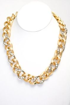 (Gold) High Quality Metal Casting Chain Necklace with Crystal Details. Length: 16.5 - Rellek Jewelry