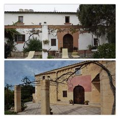 The façade of a house in Mallorca restored by Can Monroig, before and after.