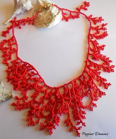 Coral branch necklace with seed beads, red, collar, waterfall