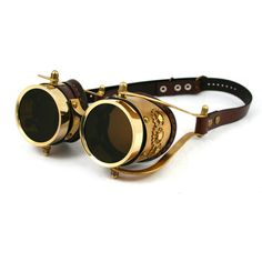 STEAMPUNK GOGGLES made of solid brass brown leather by MannAndCo found on Polyvore