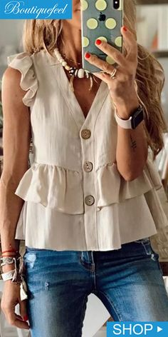Button Detail Ruffles Design Casual Top Source by casual Work Casual, Casual Chic, Smart Casual, Casual Summer, Casual Winter, Comfy Casual, Casual Dresses, Casual Outfits, Fashion Dresses