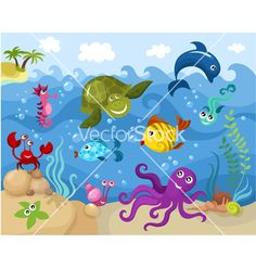 Under water themed nursery themed fish illustration. Sea life baby room concepts