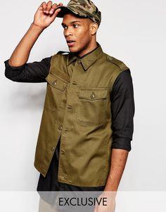 Lækre Reclaimed Vintage Sleeveless Military Shirt - Khaki Reclaimed Vintage Printed til Herrer i luksus kvalitet