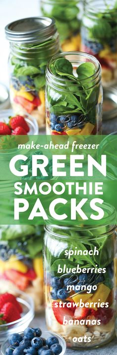 Freezer Green Smoothie Packs - Make-ahead freezer-packs! Now you have ready-made smoothies for the entire week. Simply add your milk and blend! That