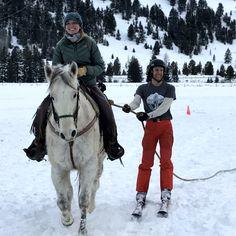 Holly Byler, Rider, on Last Chance pulling Caleb Laszloffy, Skier, for team Hay, Girl, Hay! at 320 Ranch, near Big Sky, MT © 2017 Skijor International, LLC
