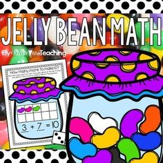Students use jelly beans to find how many more to make Two versions of the Jelly Bean Math mats are included. One mat has the equation and the other has A color and a black and white version of each mat is included. Preschool Math, Teaching Kindergarten, Math Classroom, Teaching Tools, Maths, Math Resources, Math Activities, Math Stations, Math Centers