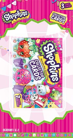 Shopkins 3 Pack Blister: There are a total of 130 cards to collect in the set. The set contains 90 common cards, 10 Colour-Me-In cards, 15 Glitter cards and 15 Pop-Up and Glow cards.