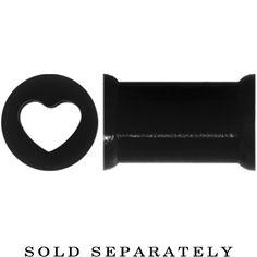 2 Gauge Black Heart Silicone Flexible Tunnel | Body Candy Body Jewelry #bodycandy