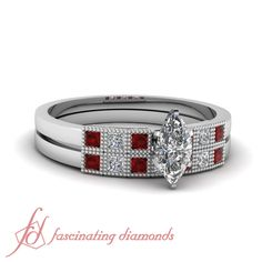 Milgrain Grid wedding Set    Marquise Shaped Diamond Wedding Set With Red Ruby In 14K White Gold