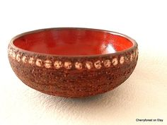 Swedish artceramics, Chamotte bowl with crimson interior by Kjell Blomberg for Gabriel Keramik , Mid Century Modern Scandinavian by Cherryforest on Etsy