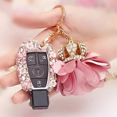 Mercedes Benz Pink Bling Car Key Holder with Rhinestones and flowers for…