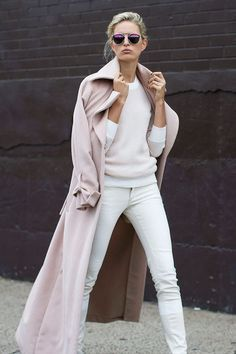 Street Style I liked today Glamsugar.com Long pink coat