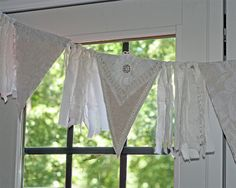 Handmade Wedding Garland or Banner Crochet over Fabric, Lace Flags, Rhinestones, Linen and Lace Streamers
